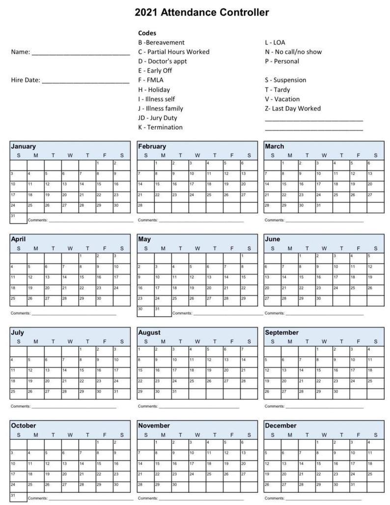 2021 Employee School Attendance Tracker Calendar Employee