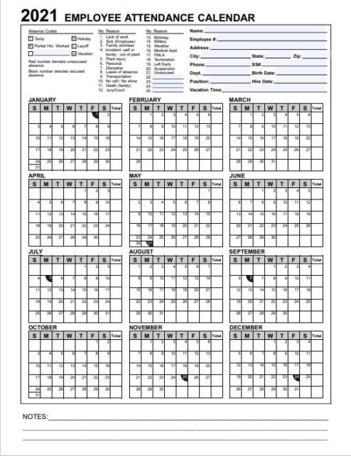 2021 Employee & Staff Attendance Record Calendar: Choose