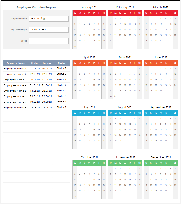 2021 Employee Vacation Request Excel Template | Etsy