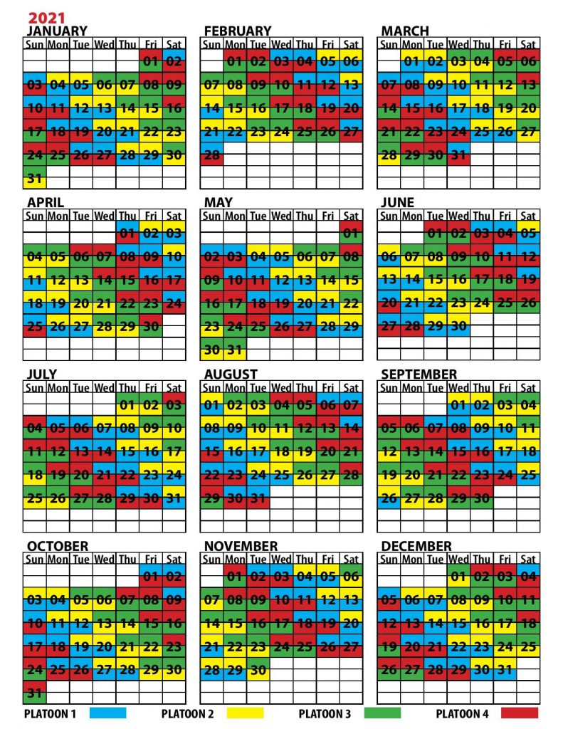 2021 Firefighter Shift Calendar   Example Calendar Printable