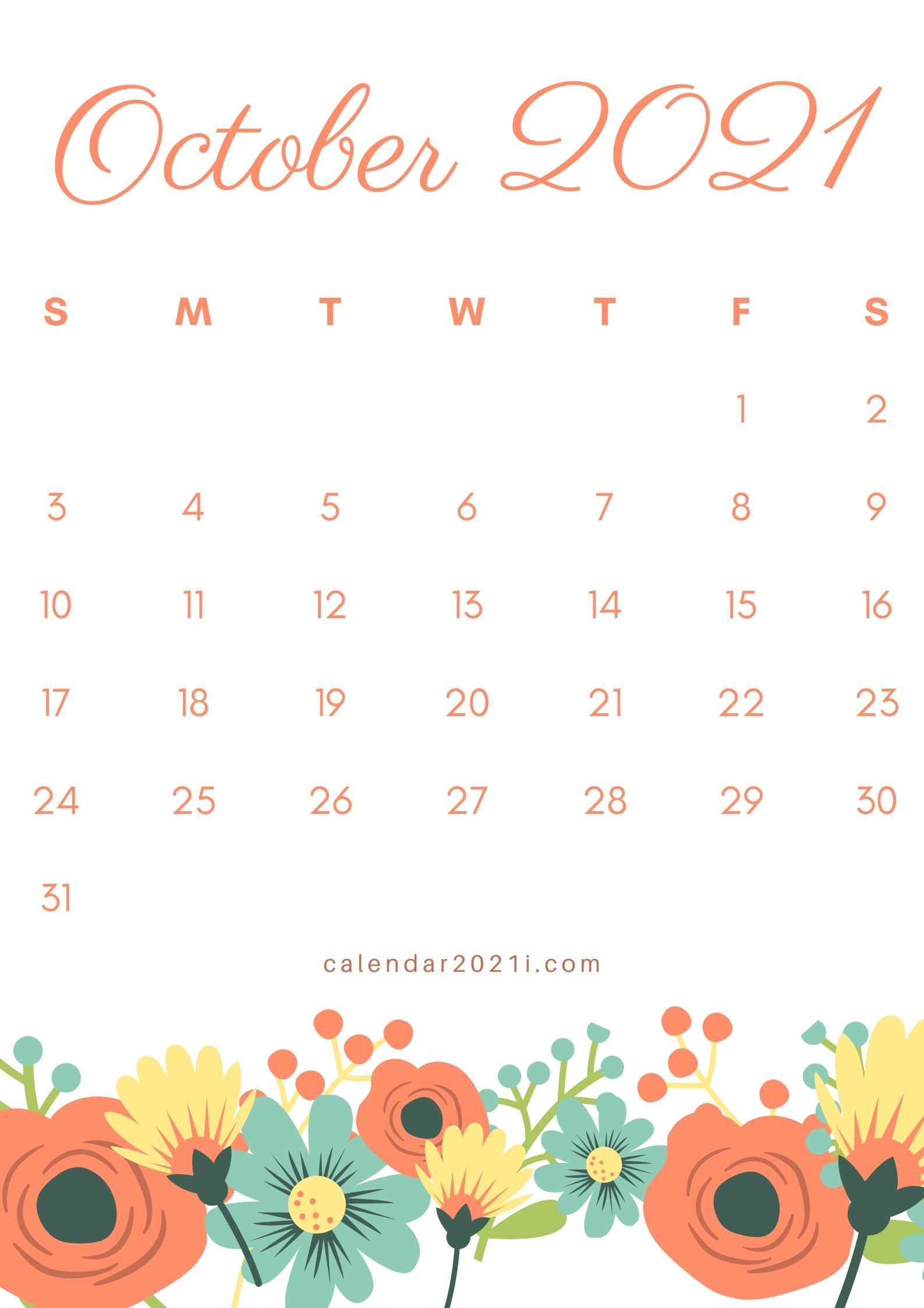 2021 Floral Calendar Printable Monthly Templates