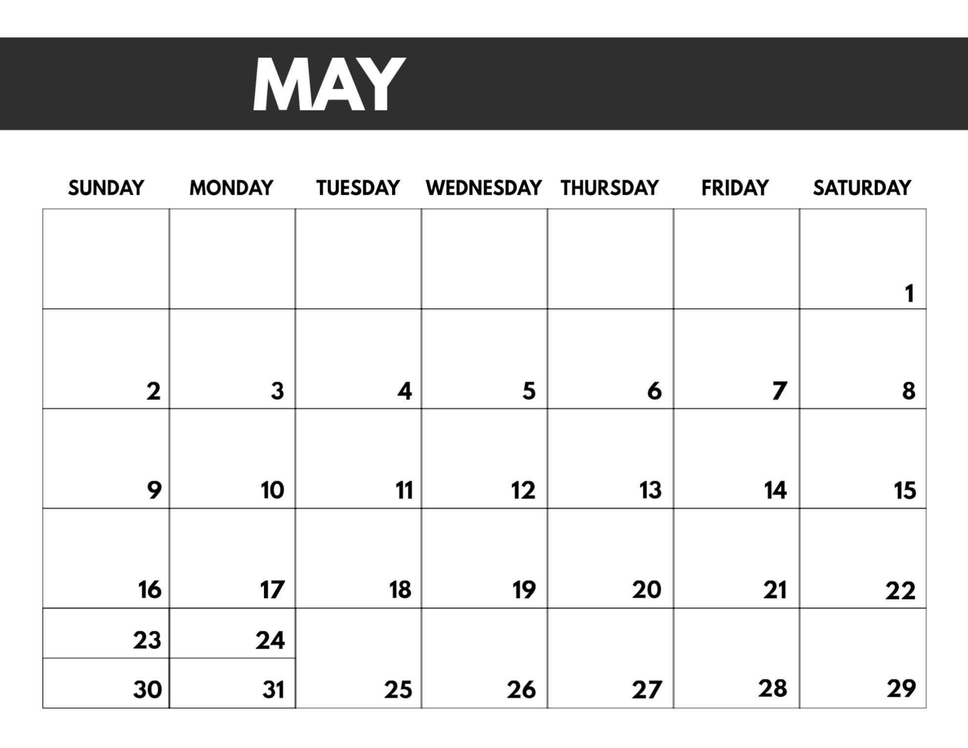 Print Free Monthly Calendar 2021