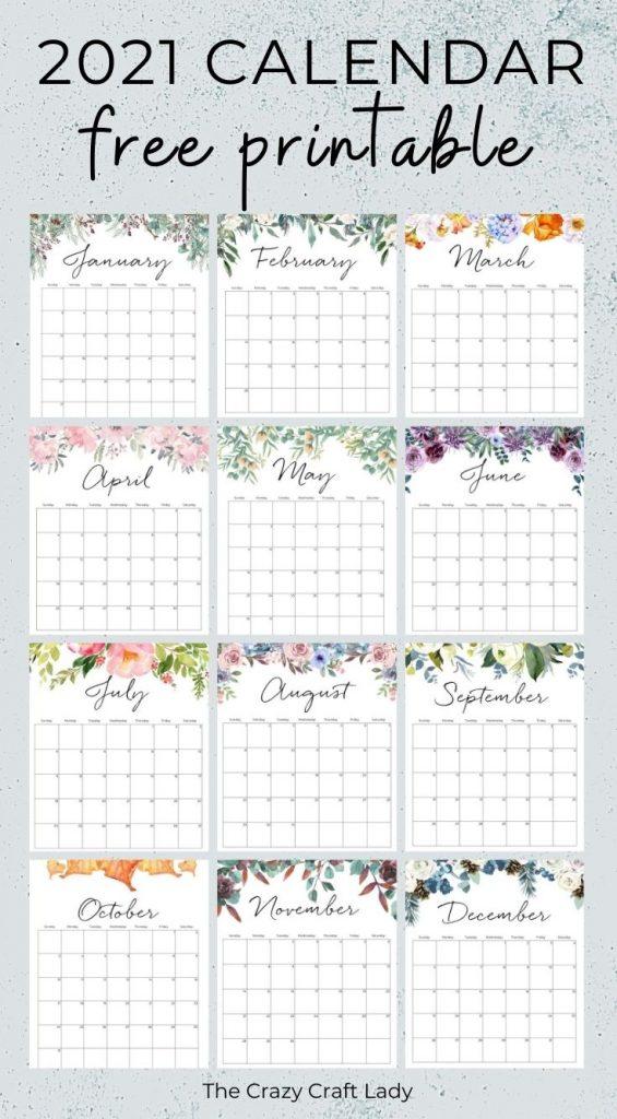 2021 Free Printable Floral Wall Calendar - The Crazy Craft