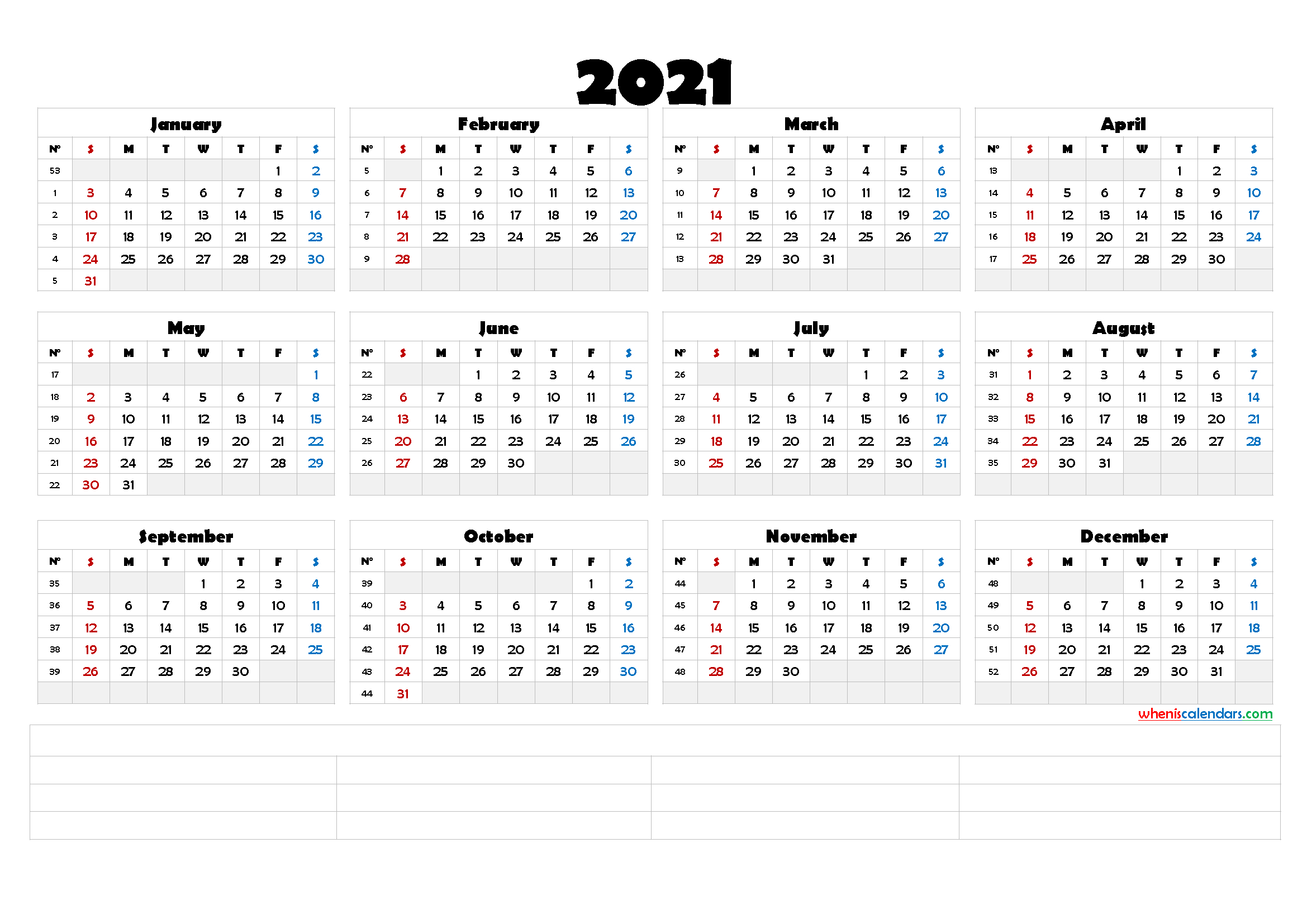 2021 Free Yearly Calendar Template Word - Calendraex