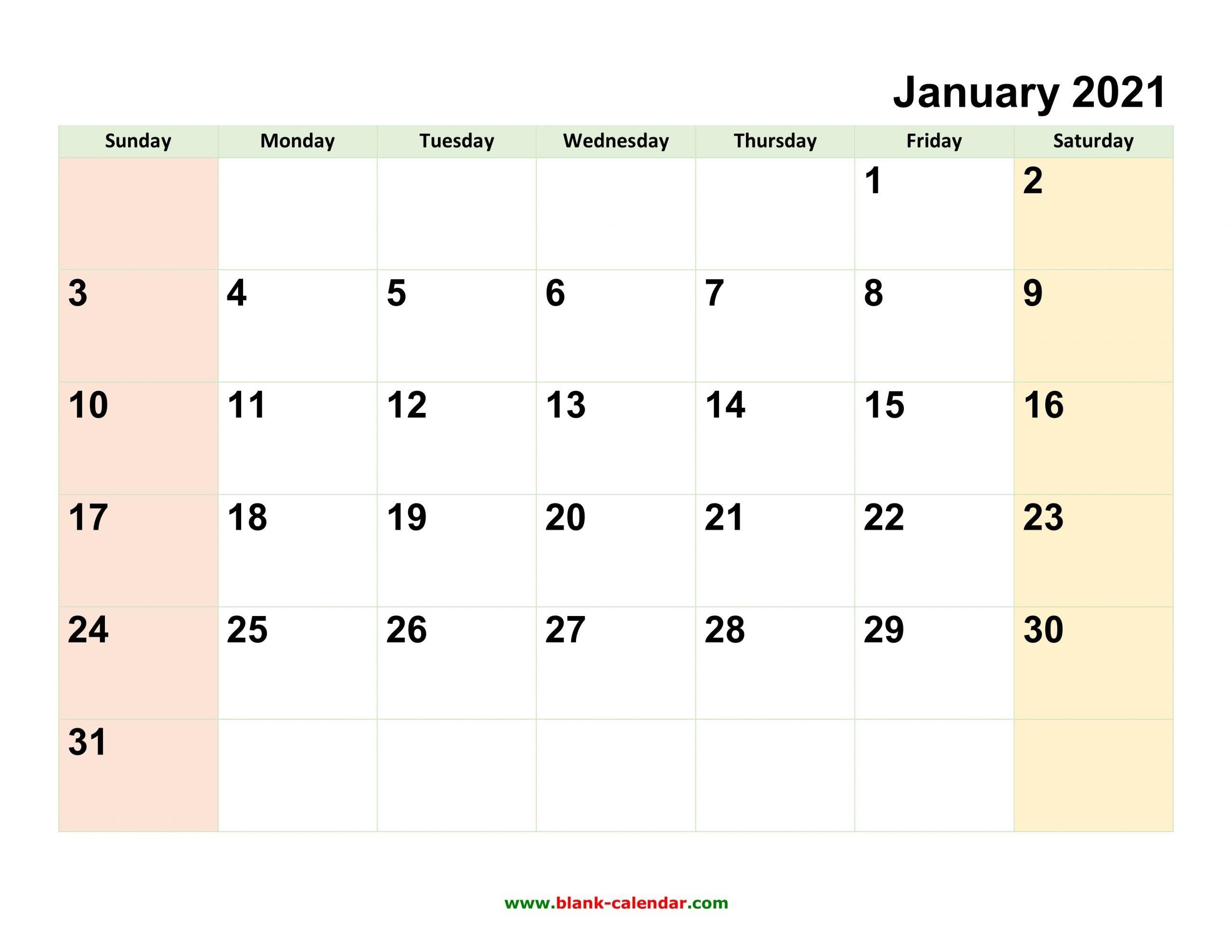 2021 Full Calendar With Spaces   Calendar Template Printable