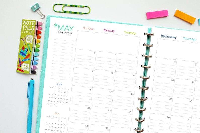 2021 Lined Calendar // Printable Planner Inserts Pdf   Etsy