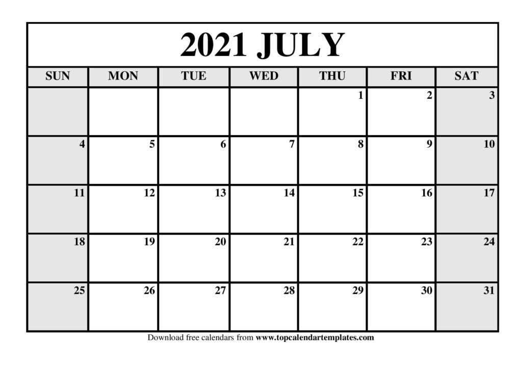 2021 Monthly Calendar Templates (January To December)