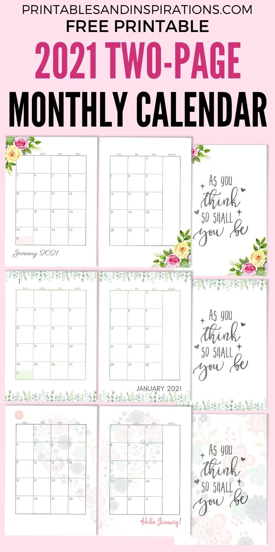 2021 Monthly Printable Pocket Planner   Calendar Template