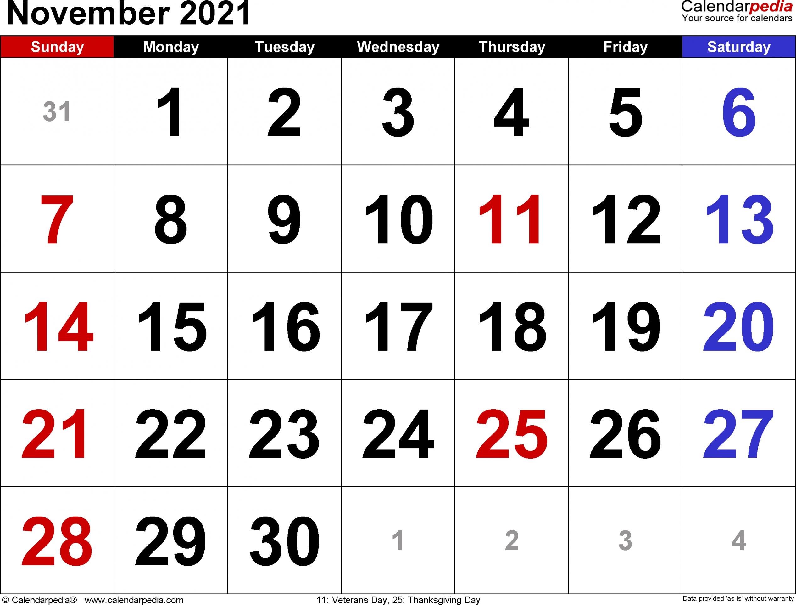 2021 November Calendar Printable | Free Letter Templates