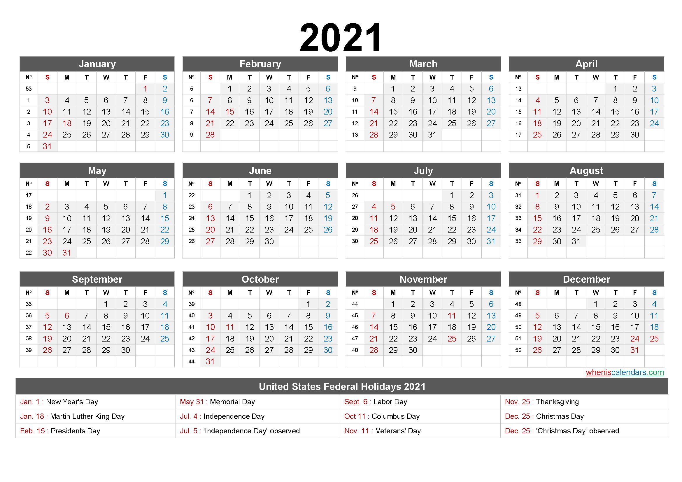 2021 One Page Calendar Printable - 6 Templates | Free