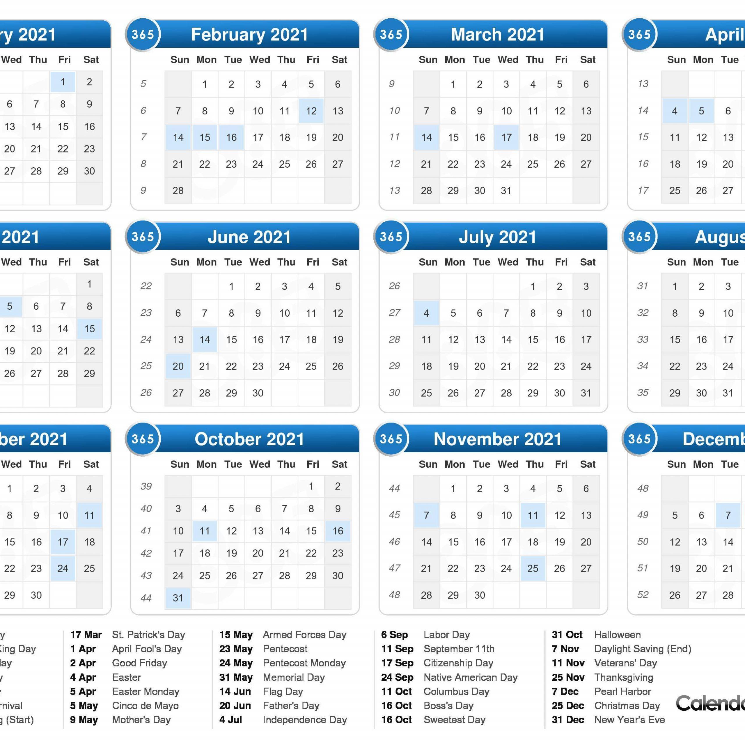 2021 One Page Calendar With Week Numbers | Free Printable