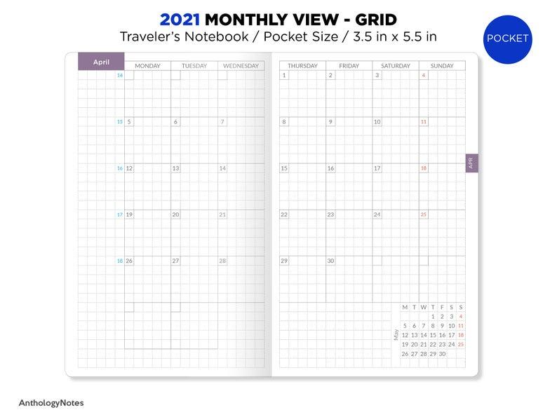 2021 Pocket Monthly Grid Traveler'S Notebook Printable   Etsy