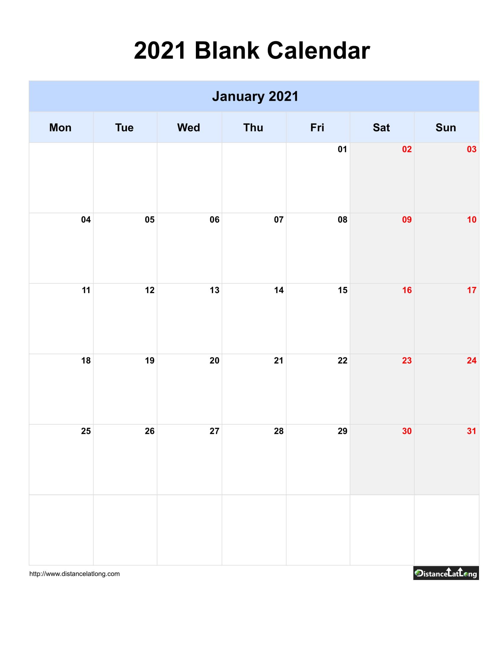 2021 Printable Calendar Monthly Portrait | Printable
