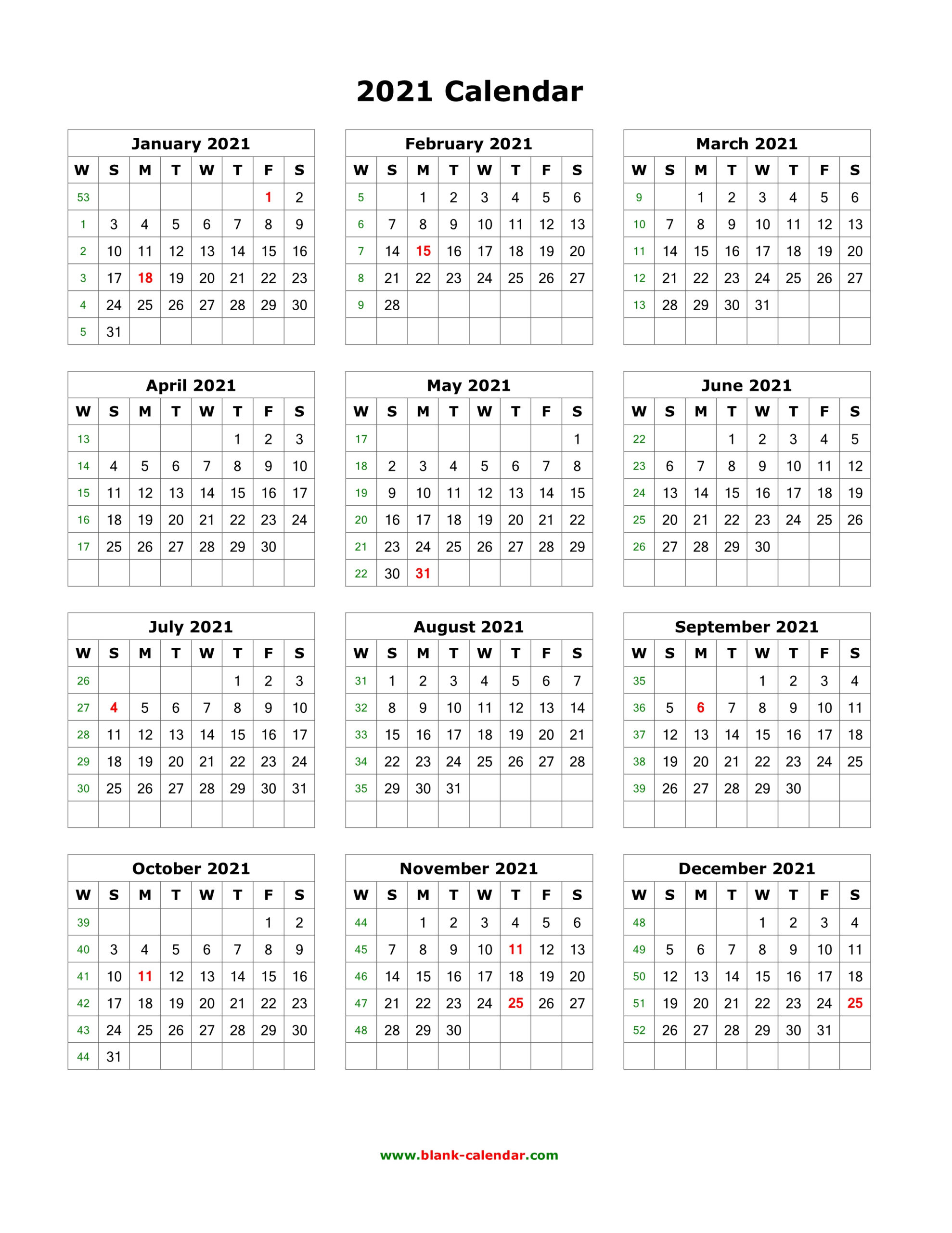 2021 Printable Calendar One Page Per Month
