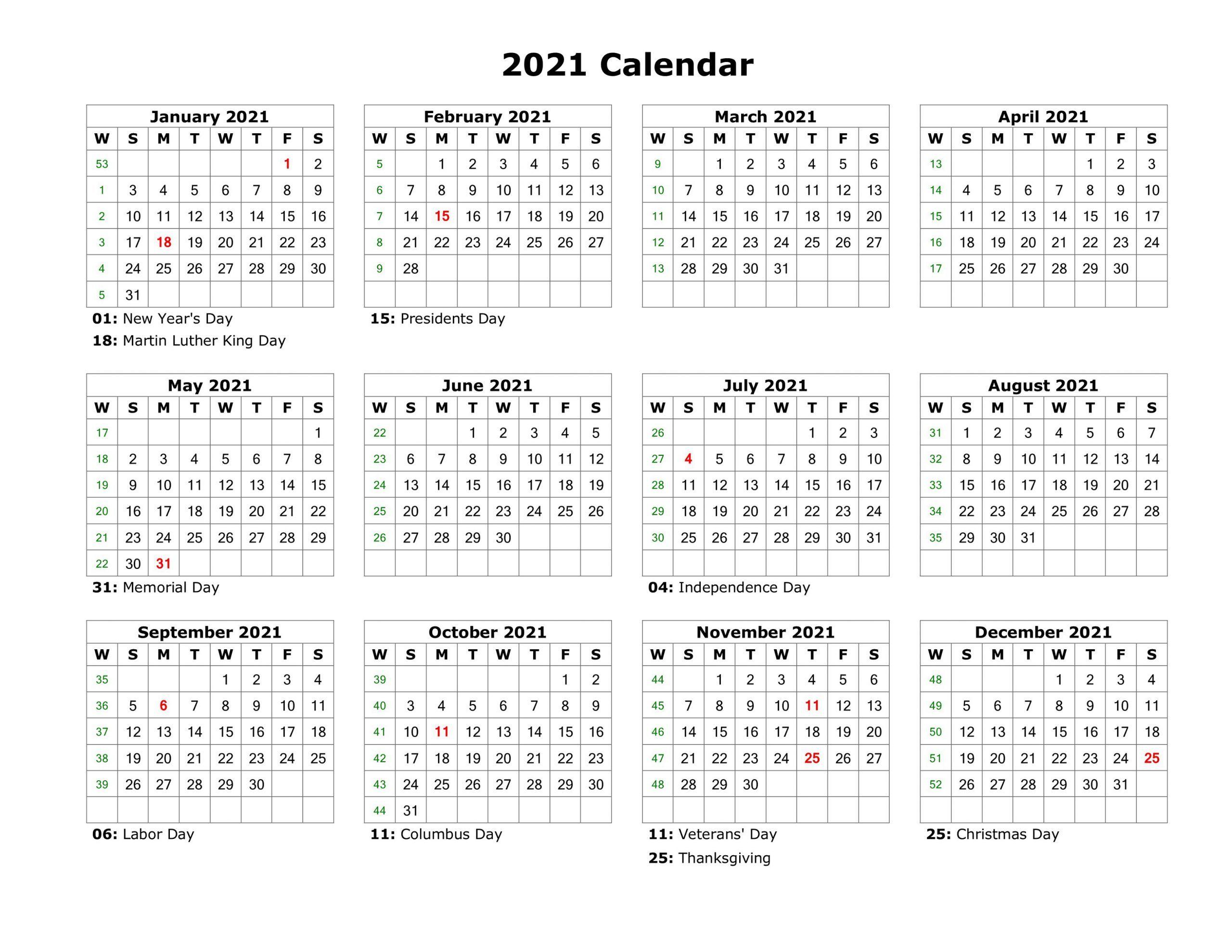 2021 Printable Calendar Templates - Yearly Work Planner