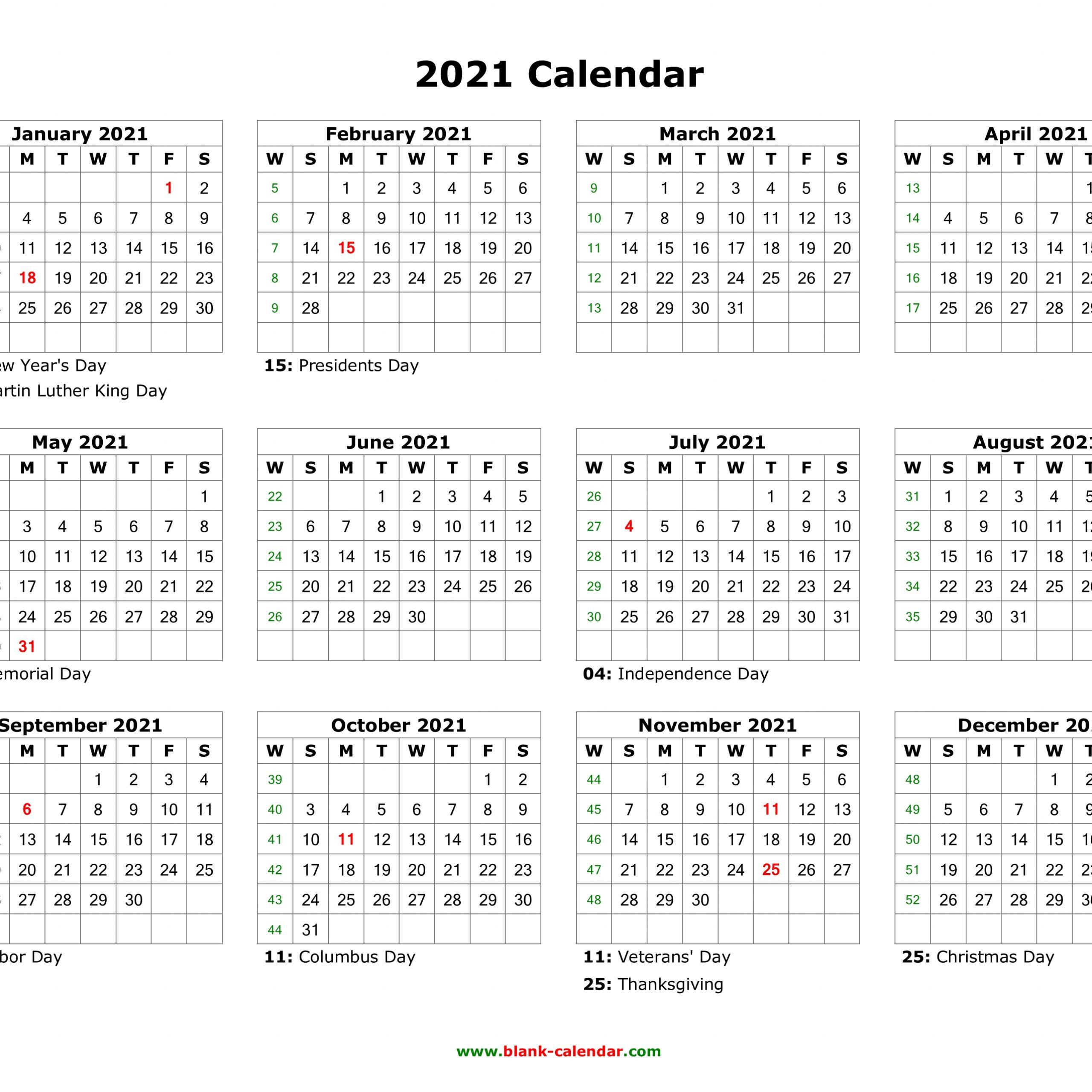 2021 Printable Calendar With Us Holidays   Free Printable