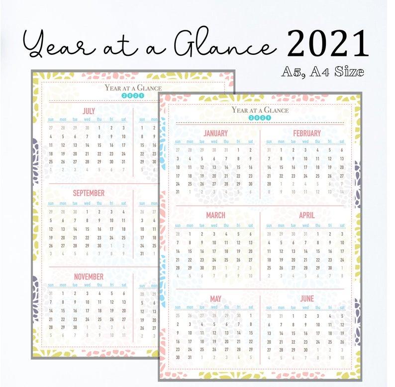 2021 Printable Calendar Year At A Glance 2021 Calendar   Etsy