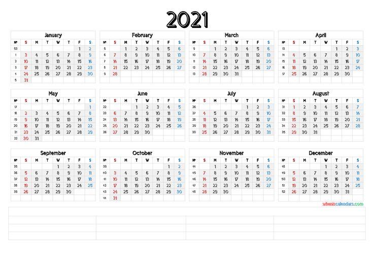 2021 Printable Yearly Calendar With Week Numbers [Premium
