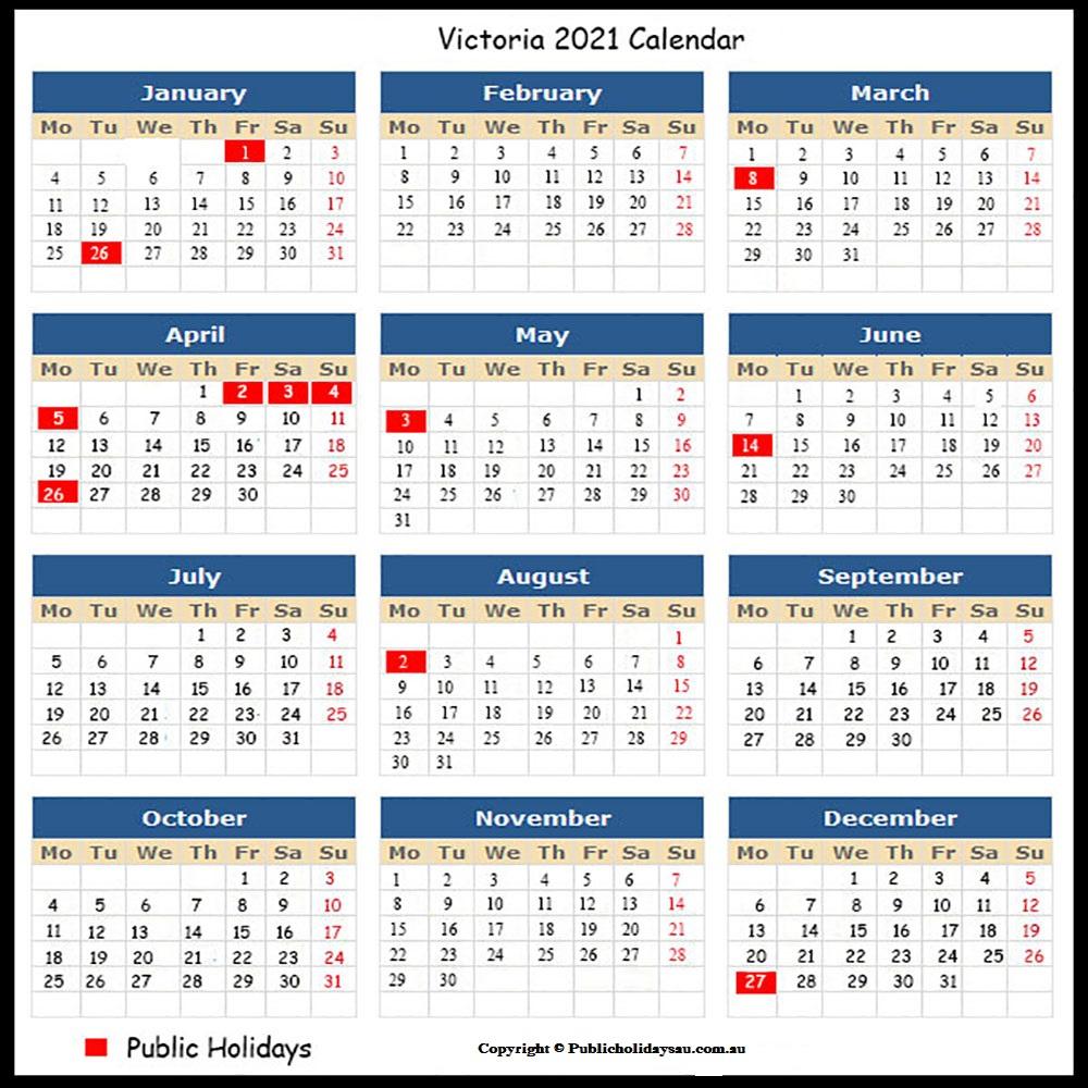 2021 Public Holidays Vic