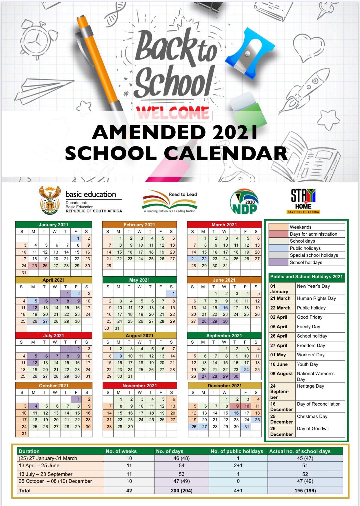 2021 Schools Calendar (Public And Independant) | South