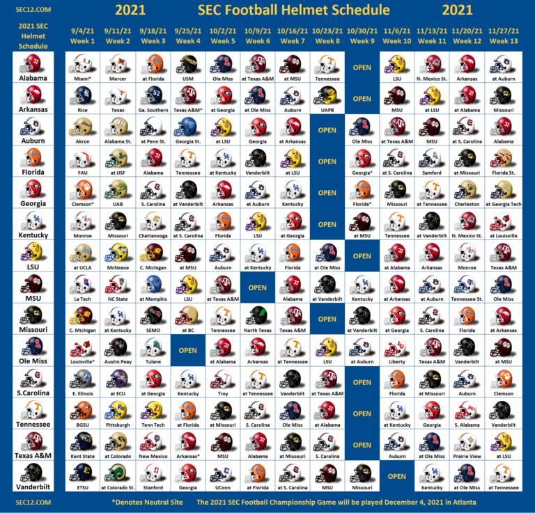 2021 Sec Football Helmet Schedule - Sec12 - Sec Football