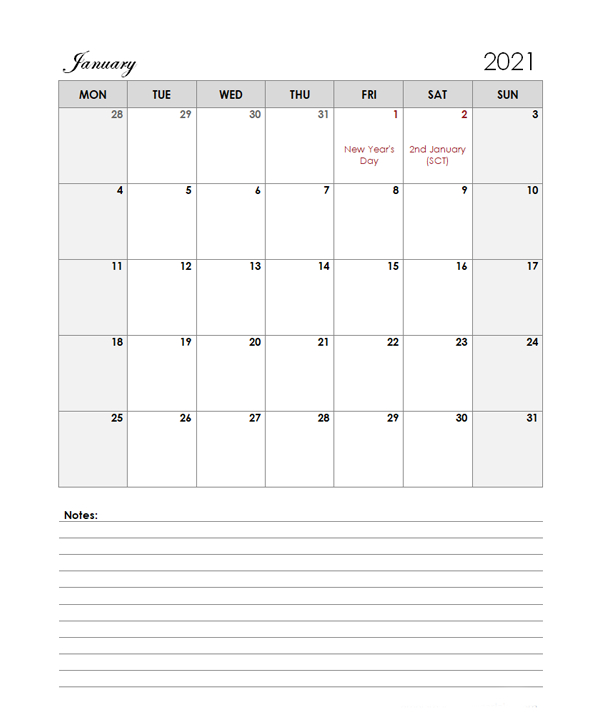 2021 Uk Calendar Template Large Boxes - Free Printable