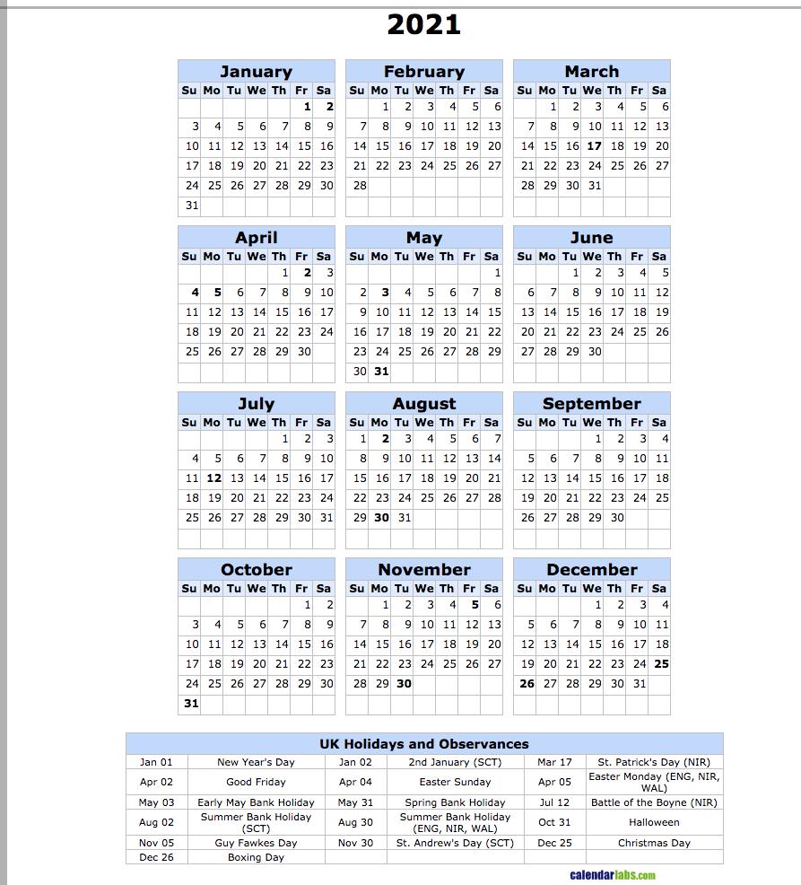 2021 Uk Holiday Calendar - United Kingdom Holidays