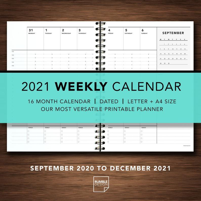 2021 Weekly Calendar 16 Month Calendar Personal Calendar