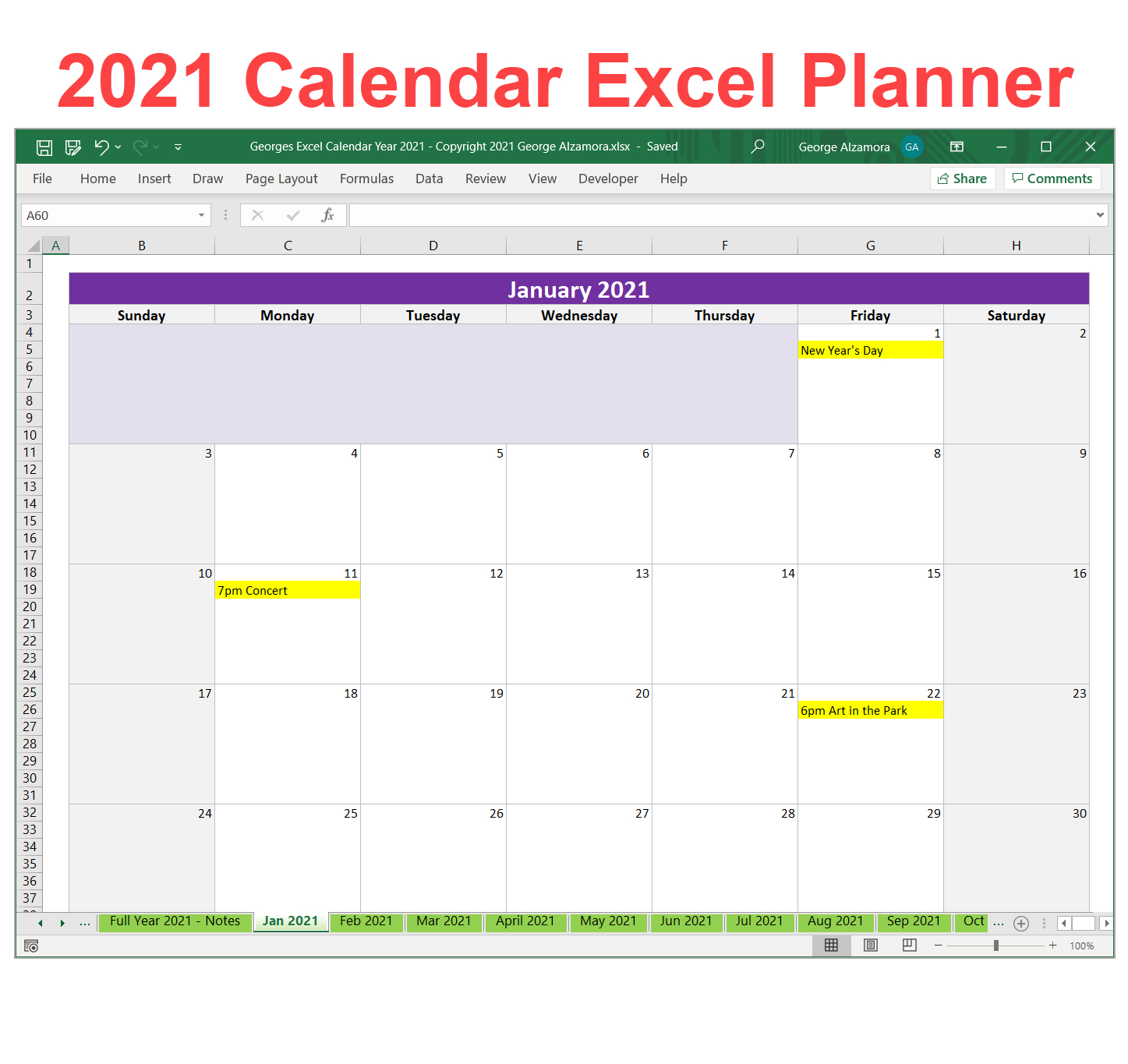 2021 Weekly Planner Excel