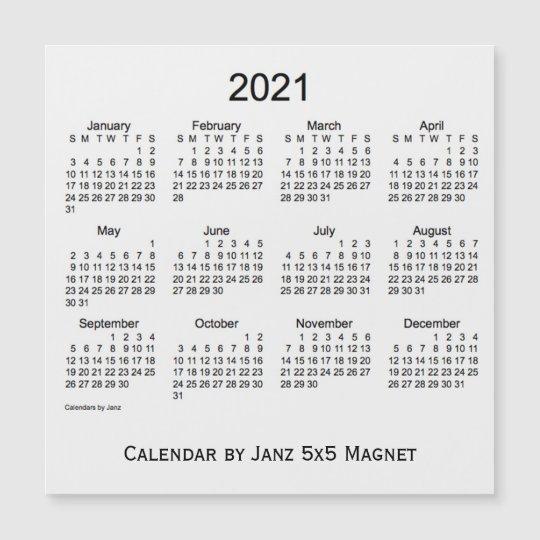 2021 White Smoke Calendar By Janz 5X5 Magnet | Zazzle.co.uk