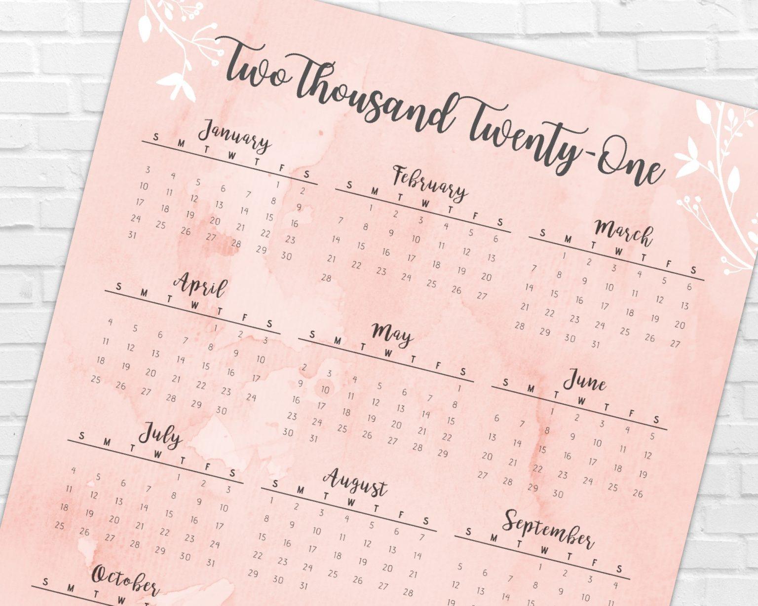 2021 Year At A Glance Calendar   Blush Pink   Printable