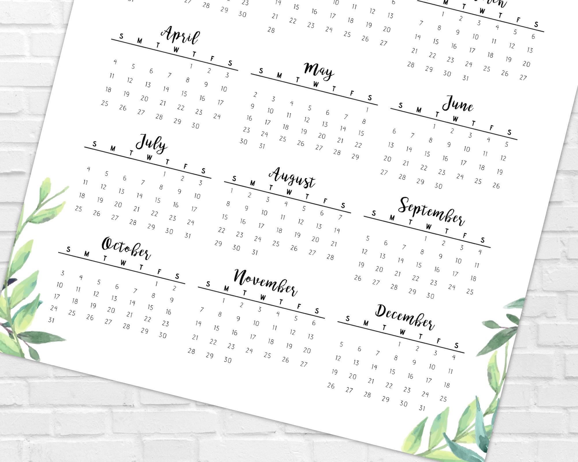 2021 Year At A Glance Calendar   Greenery & Leaves