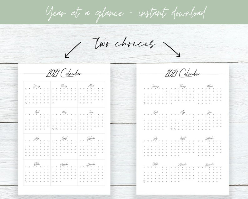 2021 Year At A Glance Calendar Year Printable Planner