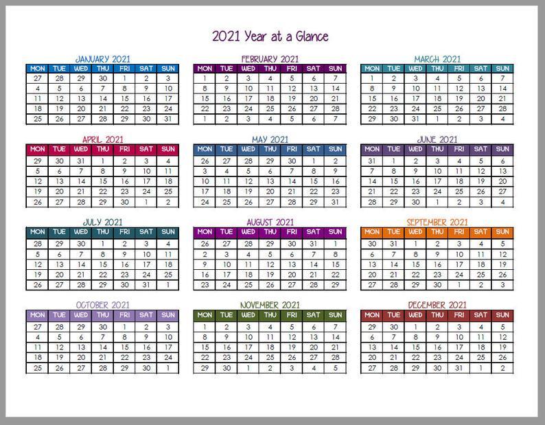 2021 Year At A Glance Calendars   Etsy