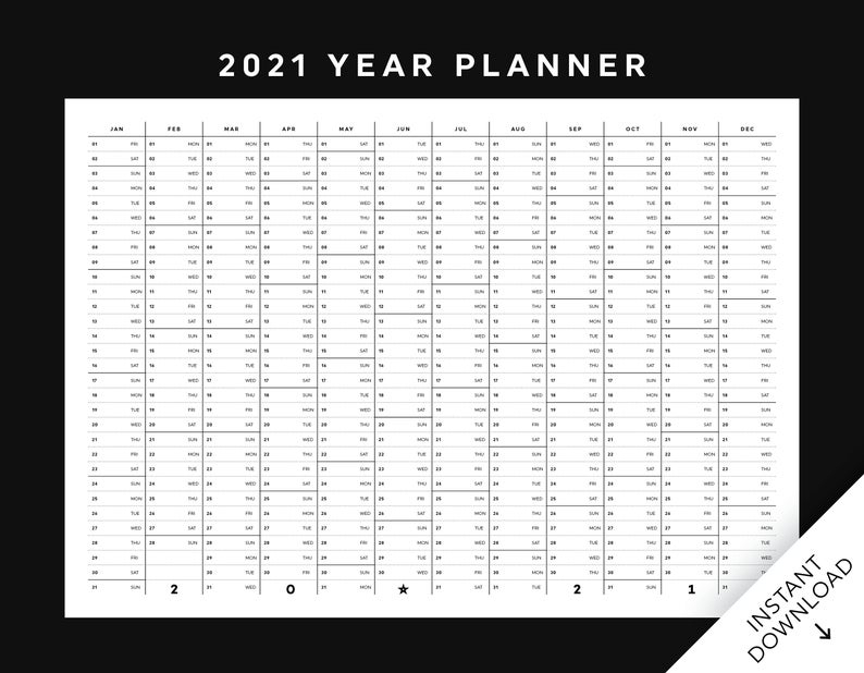 2021 Year At A Glance Planner Printable 2021 Year Calendar