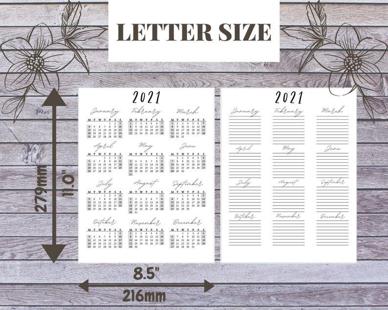 2021 Year At A Glance Printable Calendar Yearly Calendar
