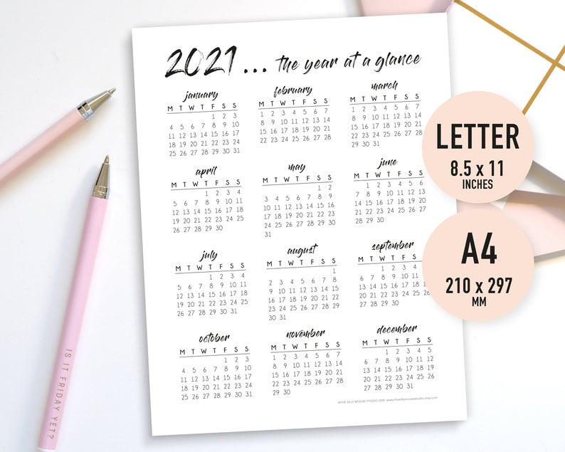 2021 Year At A Glance Printable Yearly Calendar Overview