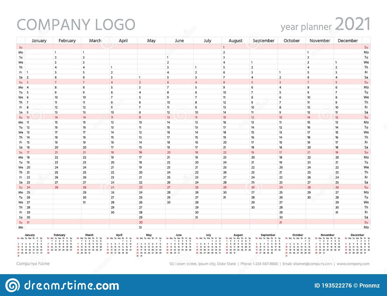 2021 Year Planner Calendar. Vector. Wall Calender Template