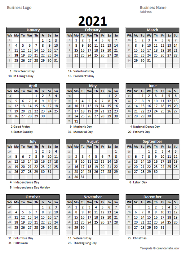 2021 Yearly Business Calendar With Week Number - Free