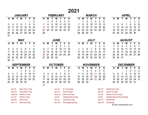 2021 Yearly Calendar Template Excel - Free Printable Templates