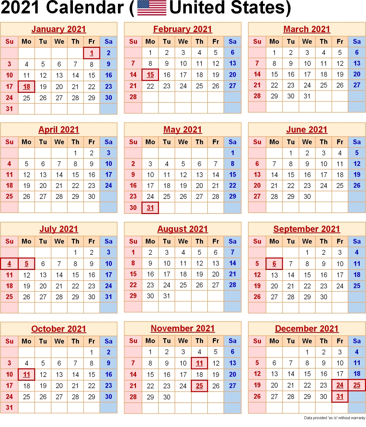 2021 Yearly Calendar With Holidays Templates | 101 Activity