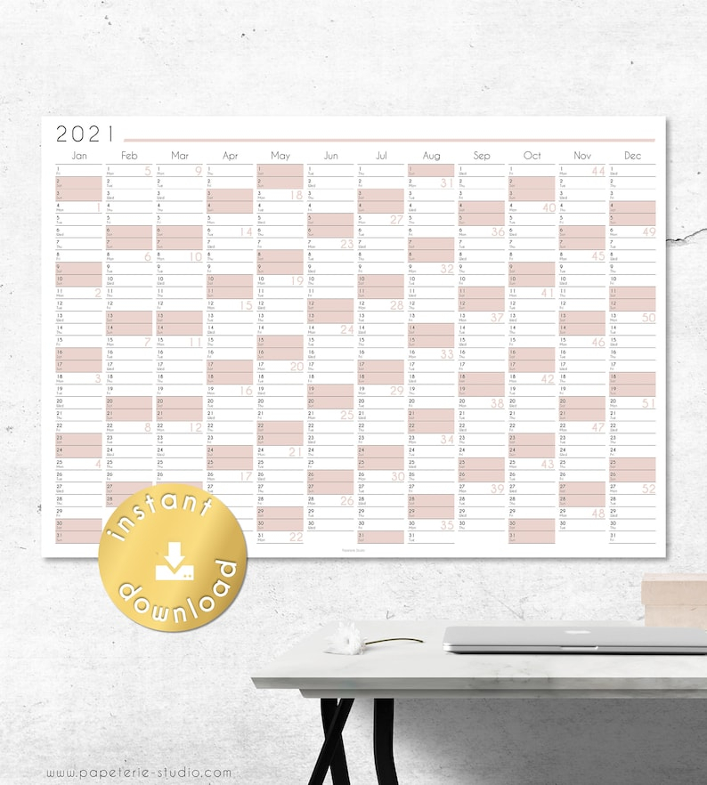 2021 Yearly Wall Calendar Printable Wall Planner 2021   Etsy