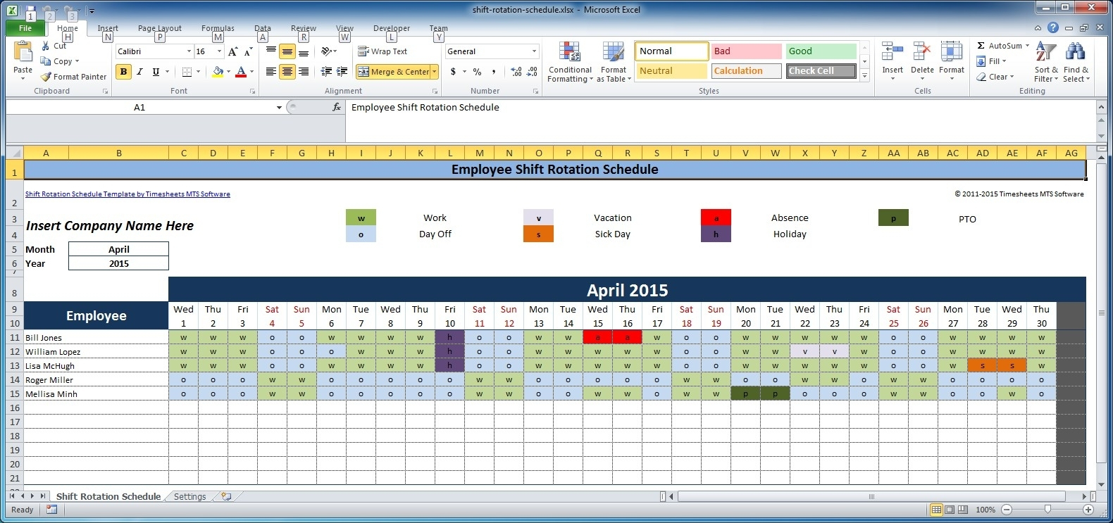 4 Week Blank Rotating Schedule Calendar - Calendar