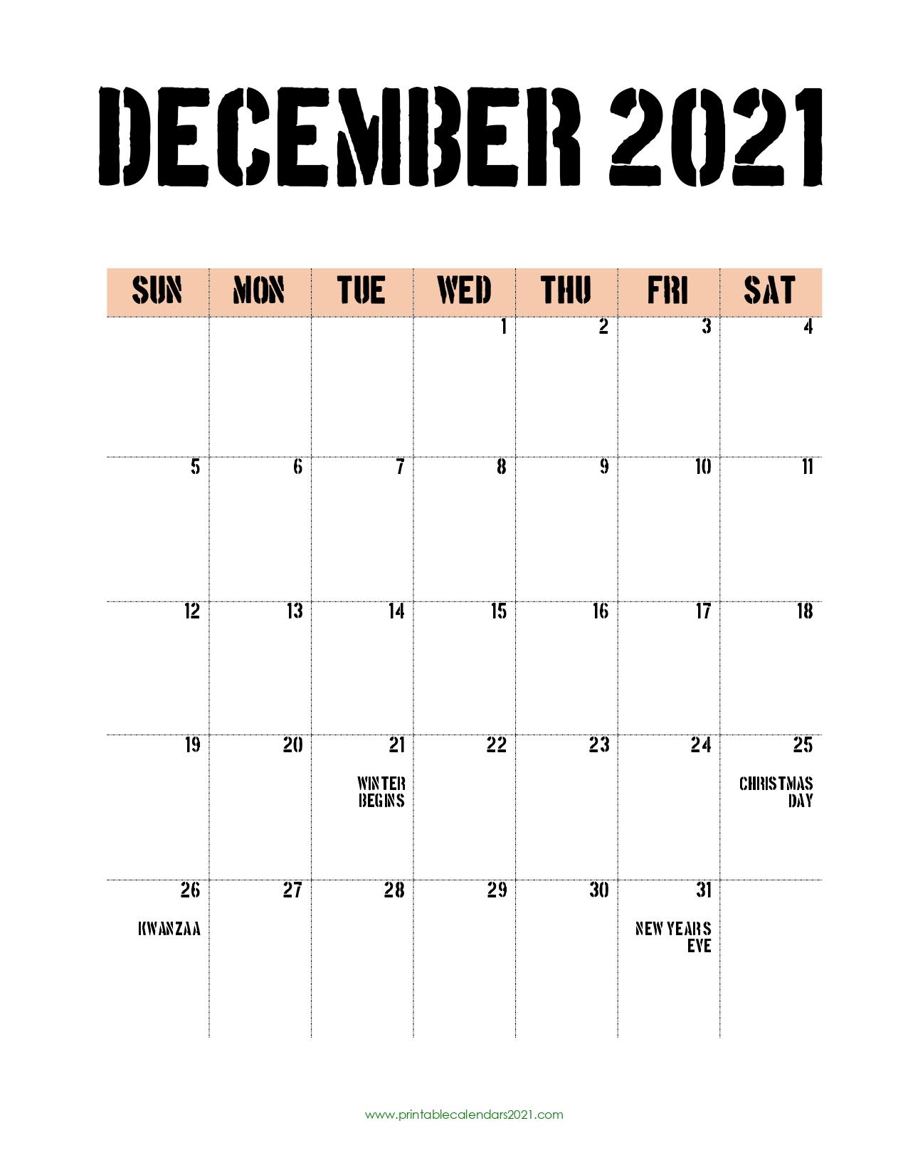 40+ December 2021 Calendar Printable, December 2021 Calendar Pdf