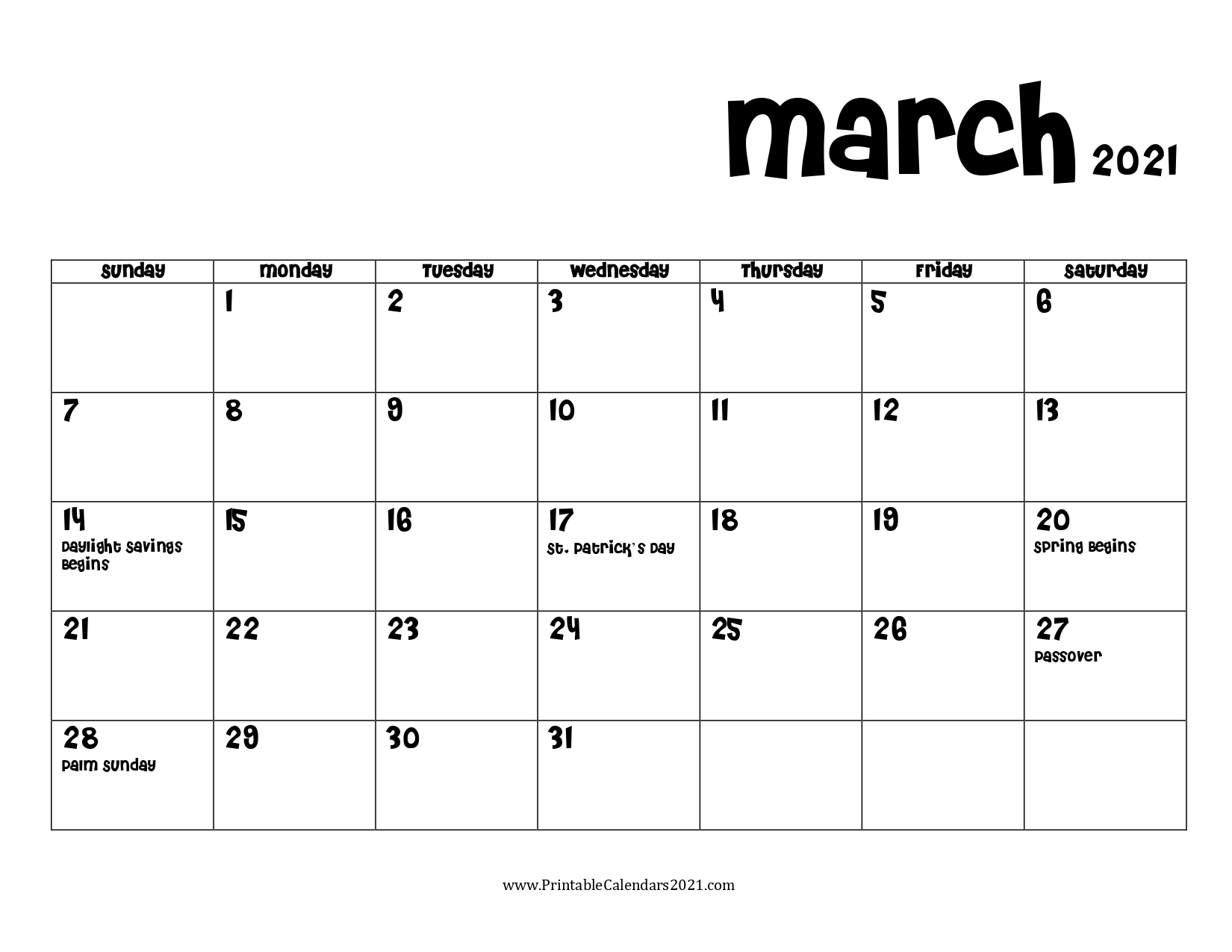 68+ Free March 2021 Calendar Printable With Holidays