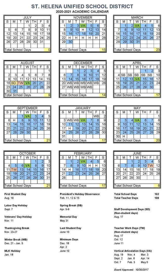 Academic Calendar / 2020-2021