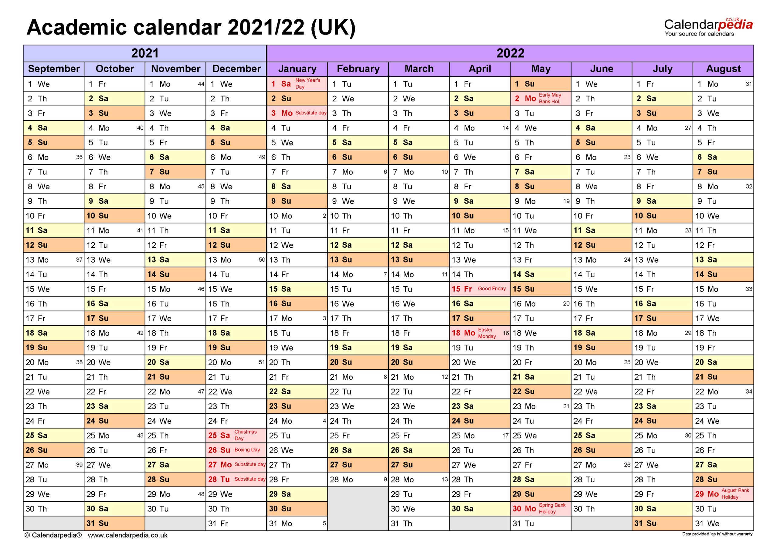 Academic Calendar 2021 22 | Printable Calendars 2021