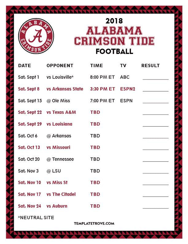 Alabama Auburn Football Schedule 2019