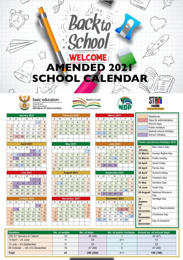Amended School Calendar For 2021 For South African