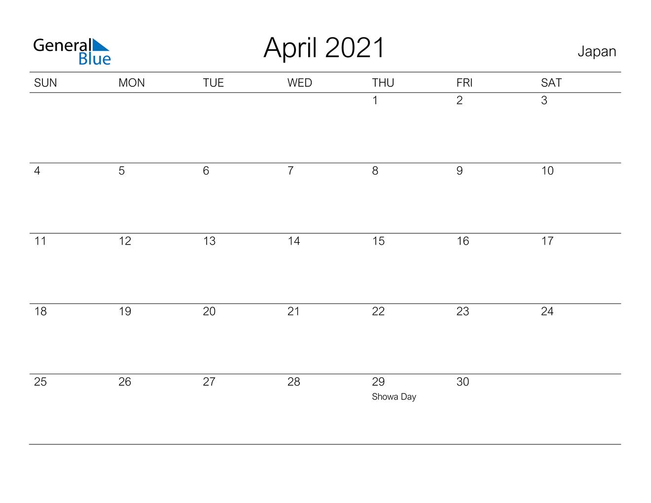 April 2021 Calendar - Japan